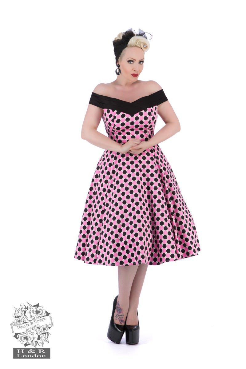 Robe années 50 à poids roses et noirs, Heart & Roses Londres