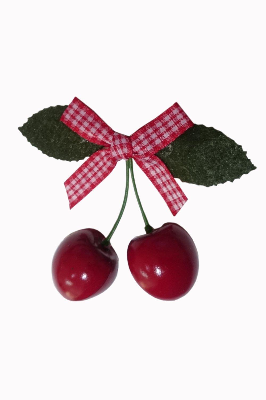 Barrette pour cheveux cerises avec noeud à petits carreaux rouges et blancs LAGOON de Banned