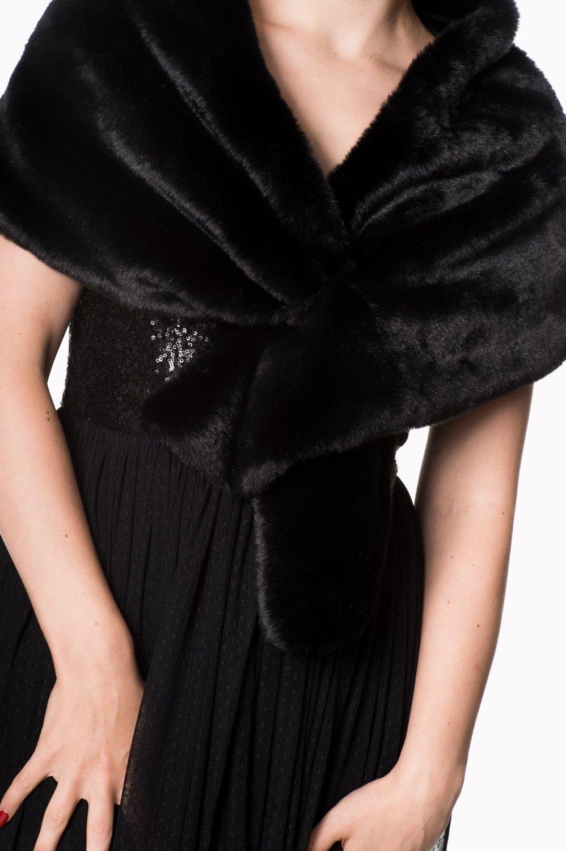 Châle NARNIA noir, en fausse fourrure, de Banned