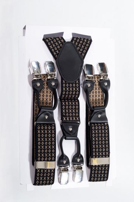 Bretelles rockabilly pour homme, motifs beiges sur fond noir, Banned