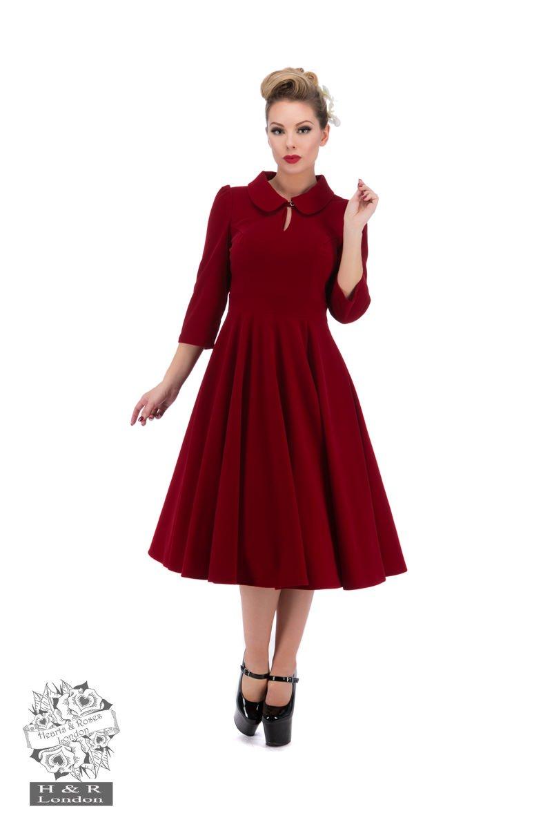 Robe swing Glamourous, en velours rouge, de Heart & Roses