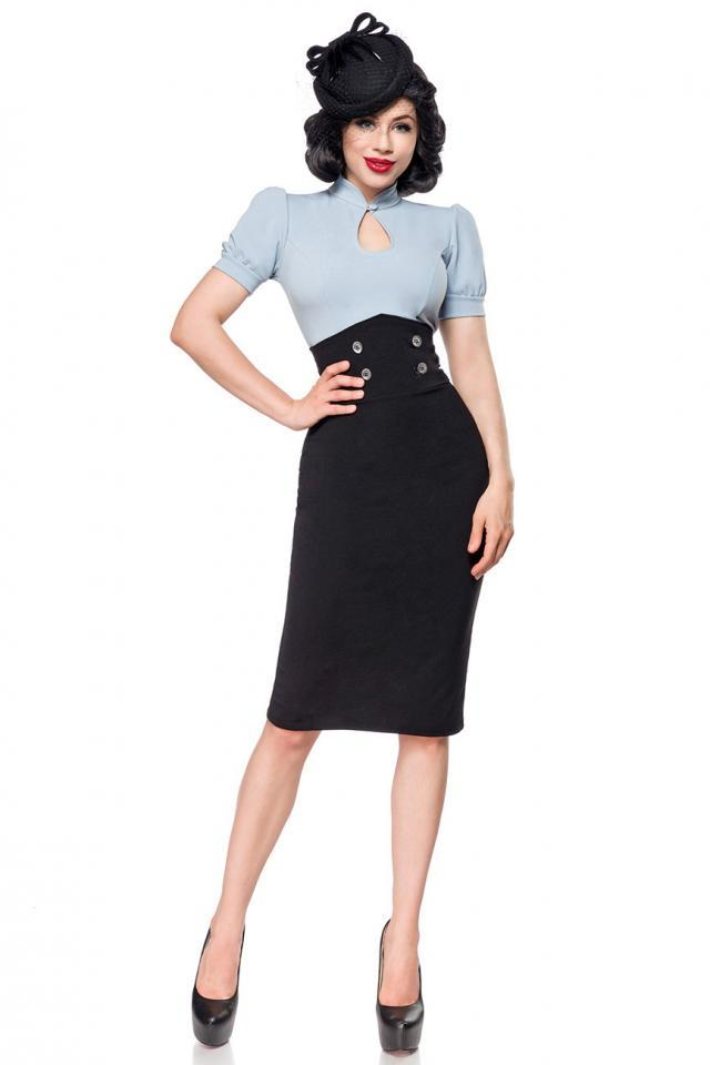 Jupe crayon noire vintage taille haute, style 40's