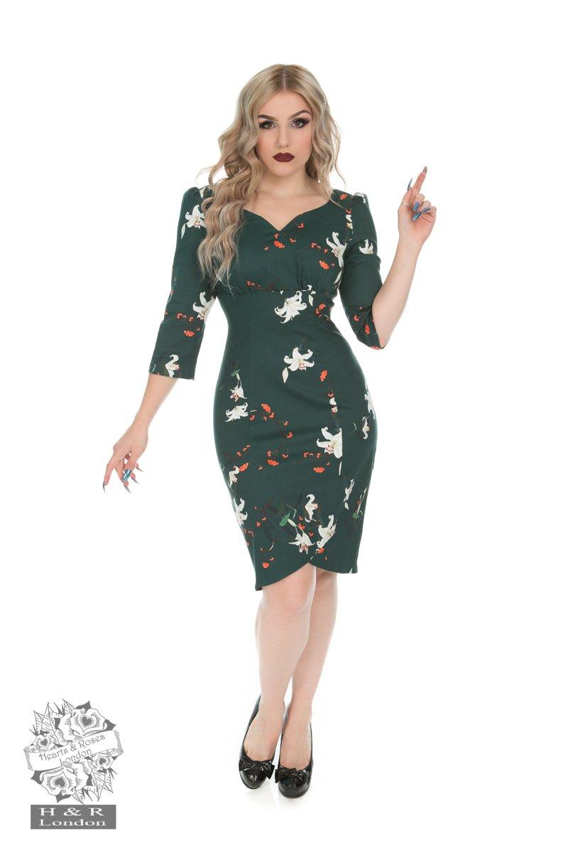 Robe Dorothy Lily, verte à fleurs, H&R