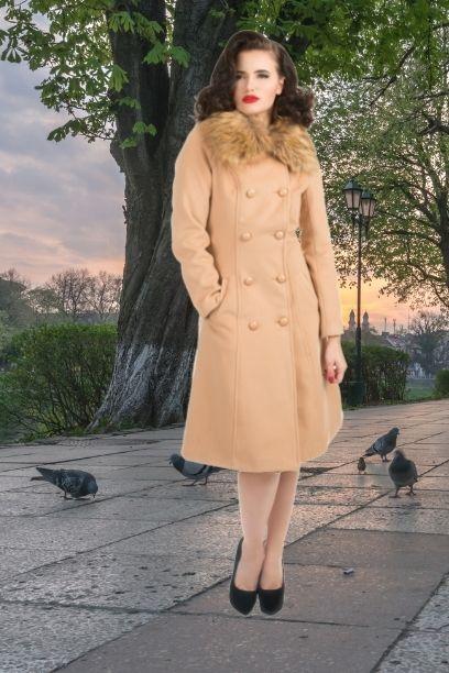 Manteau beige style vintage