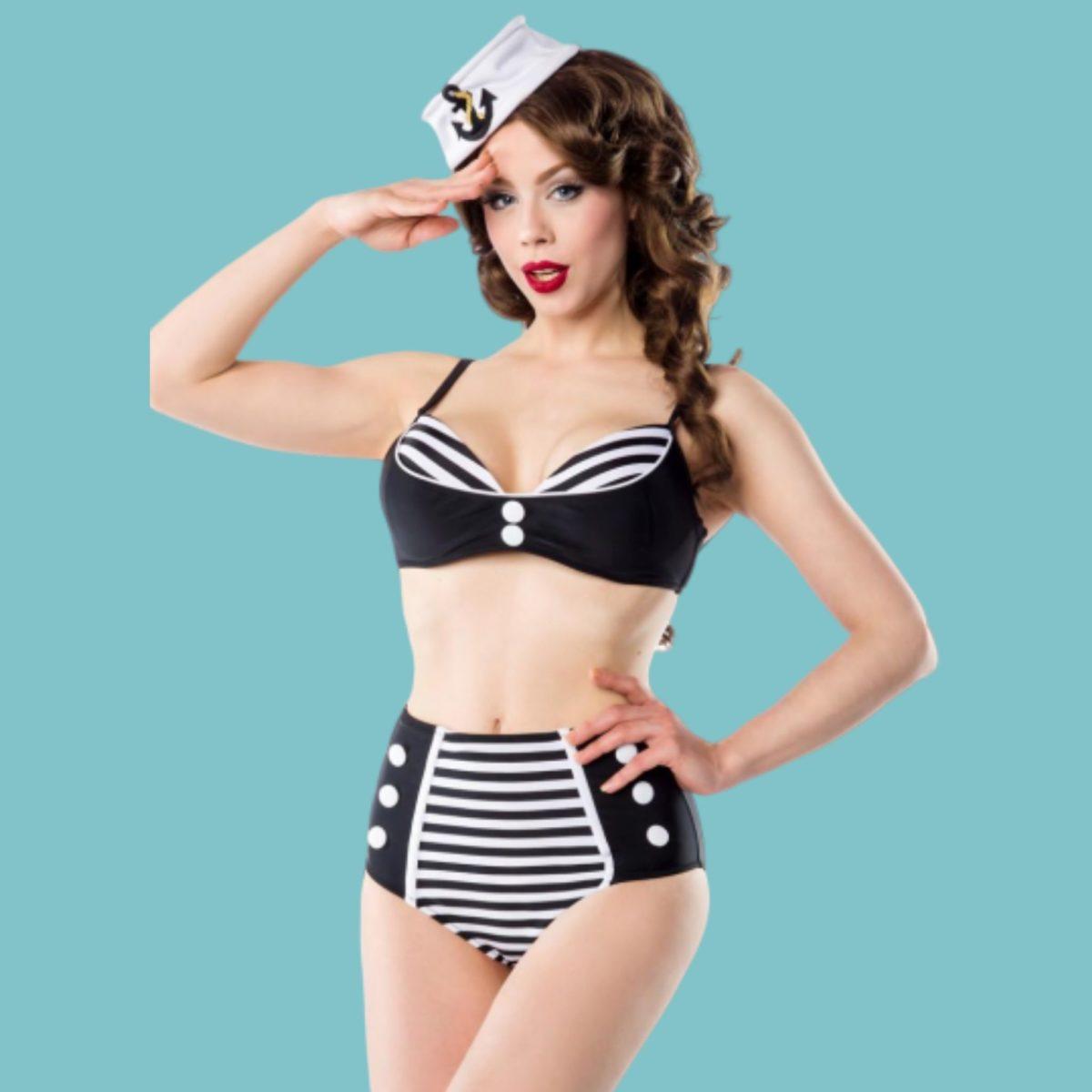 Bikini  vintage look marin noir et blanc