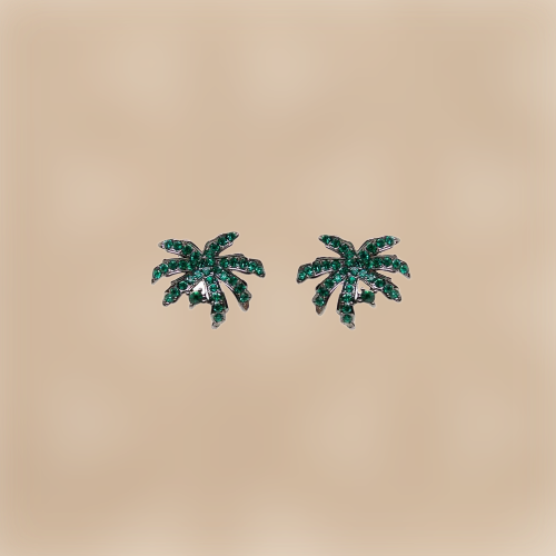 Boucles d'oreille palmiers scintillants, vert, Collectif