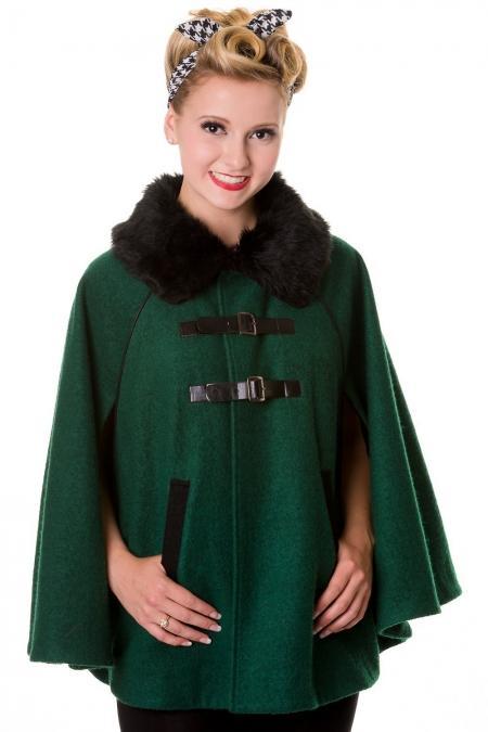 Cape rétro verte style années 40, col fausse fourrure noire, Banned