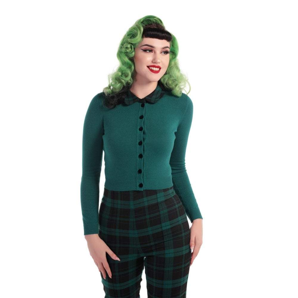Cardigan Millicent, tricot vert émeraude col Peter Pan, Collectif
