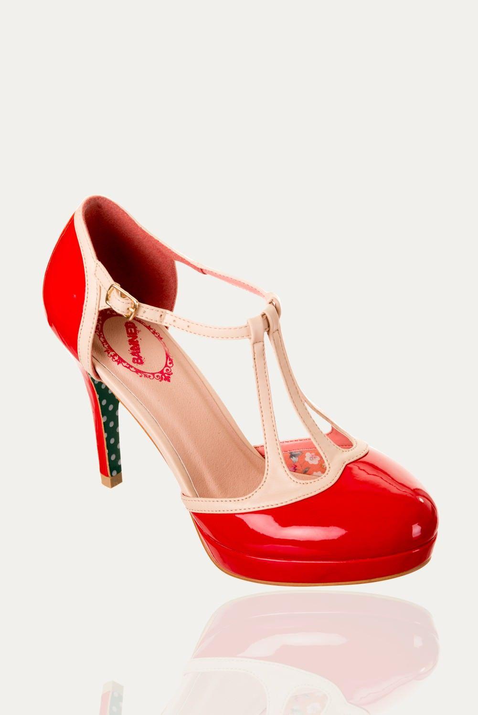 Escarpins rouge et blanc  BETTY, bride en T, talons 10,5 cm de Banned