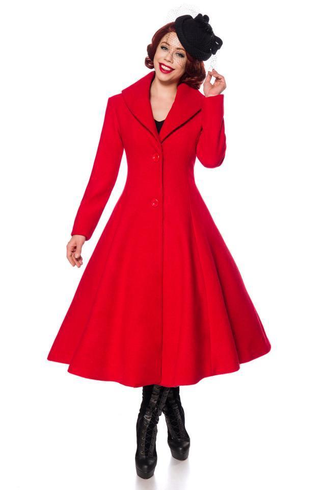 Manteau rouge en laine, col façon châle, de Belsira