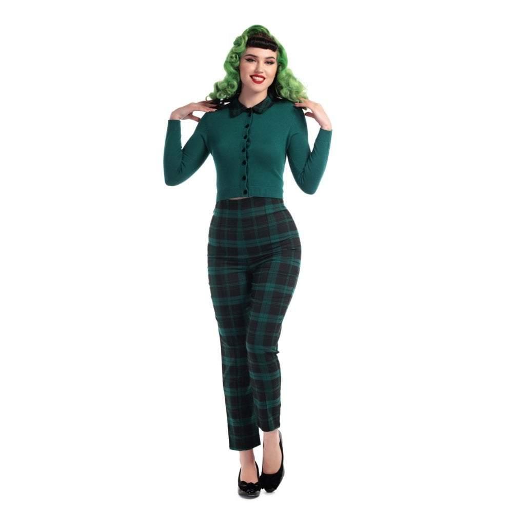 Pantalons  BONNIE à carreaux verts et noirs style rétro, forme cigarette, Collectif