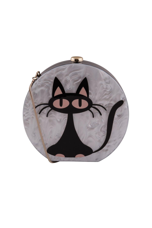 Pochette-sac à main ronde, chat Milo, style bakélite, noir et blanc, ronde, Collectif