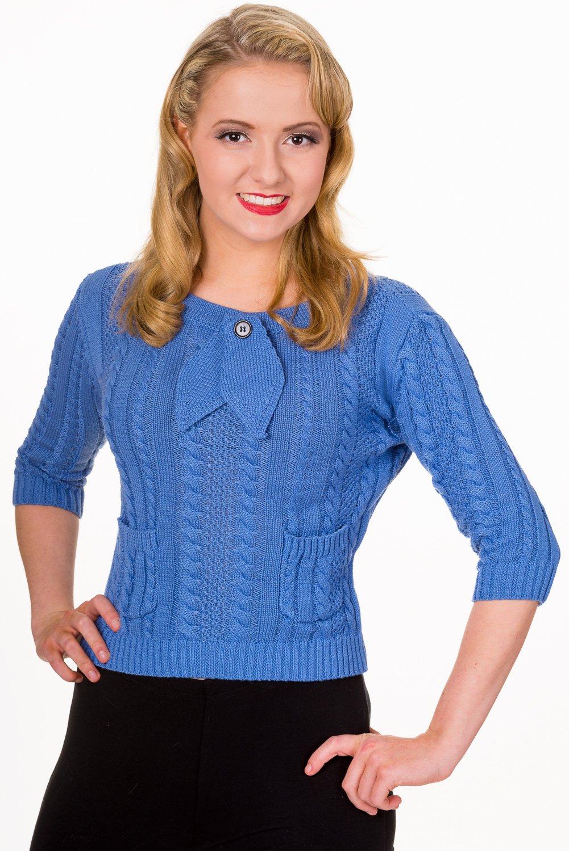 Pullover bleu ciel torsadé style années 50, Banned