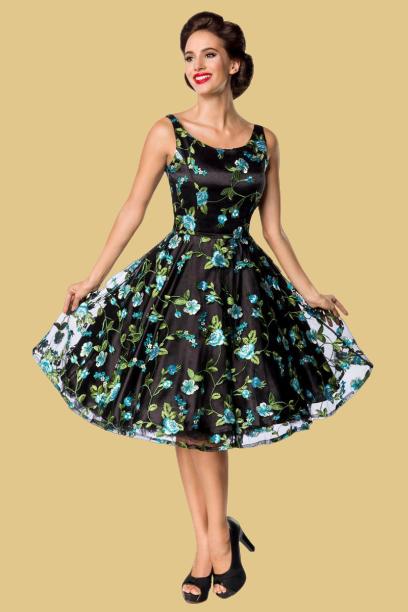 Robe swing style vintage en tulle doux brodé, premium florale, Belsira