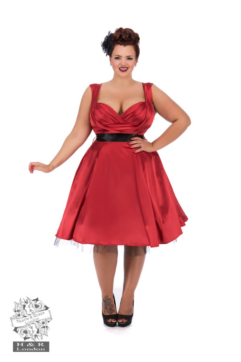 Robe swing en satin rouge, style années 50, grande taille
