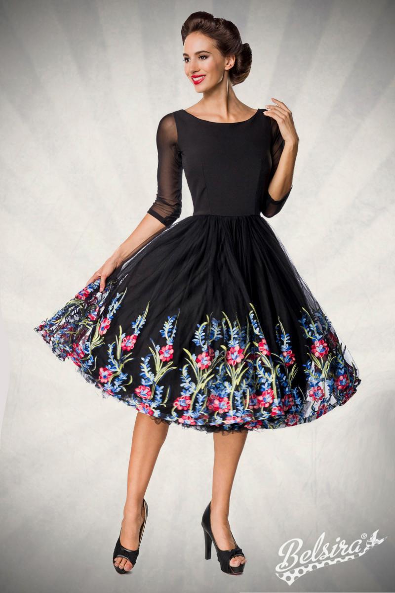 Robe noire, swing, style rétro haut de gamme, avec broderies sur la jupe, Belsira