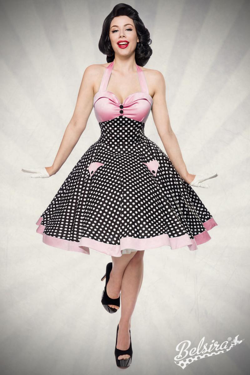 Robe swing style rockabilly, rose et  noire à pois blancs, Belsira