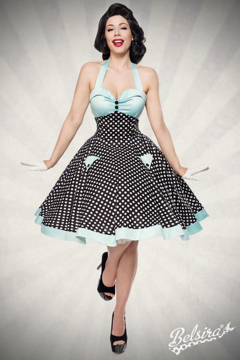 Robe swing style rockabilly, turquoise et  noire à pois blancs, Belsira