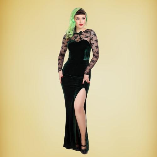Robe longue Céline, style vintage, en velours vert et dentelle noire, Collectif