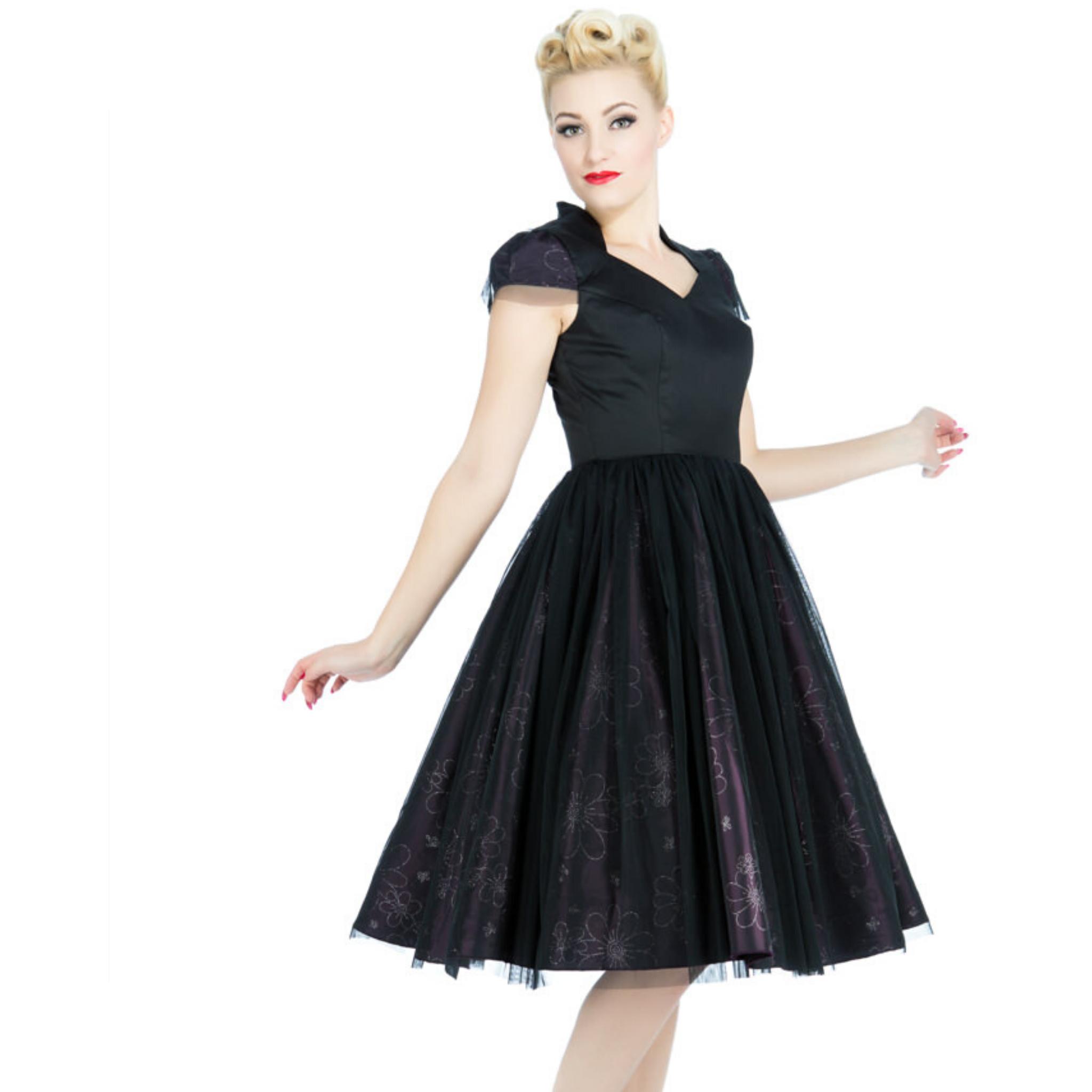 Robe de soirée années 50 en satin noir et violet,  H&RLondres