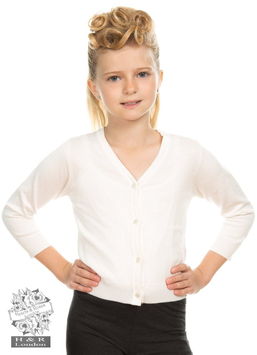 Cardigan ivoire style vintage pour fille