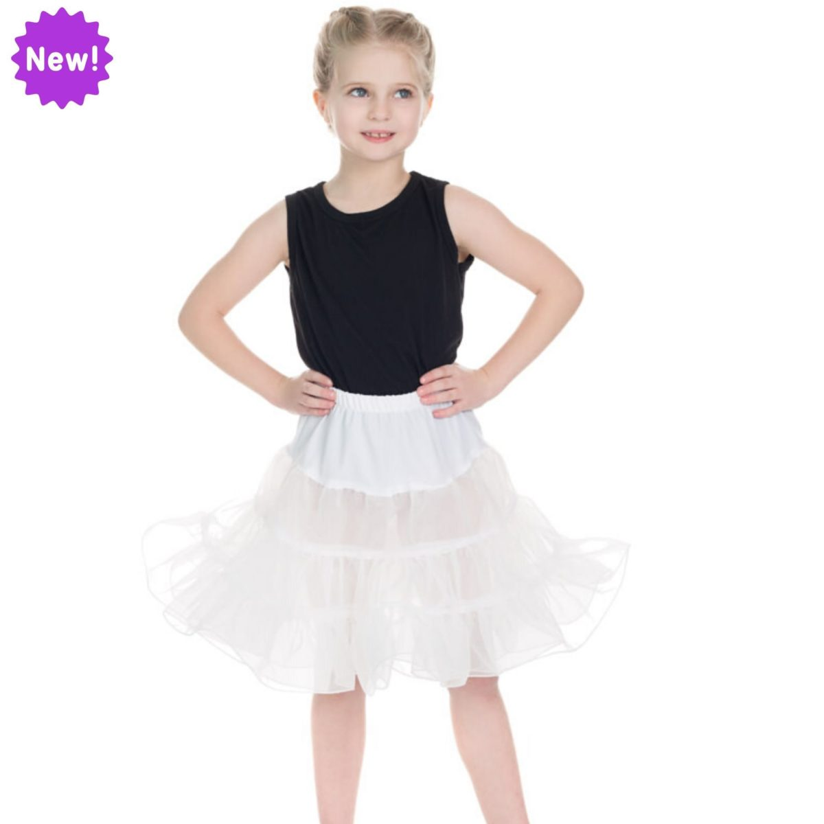 Jupon blanc, style rétro, pour fillette