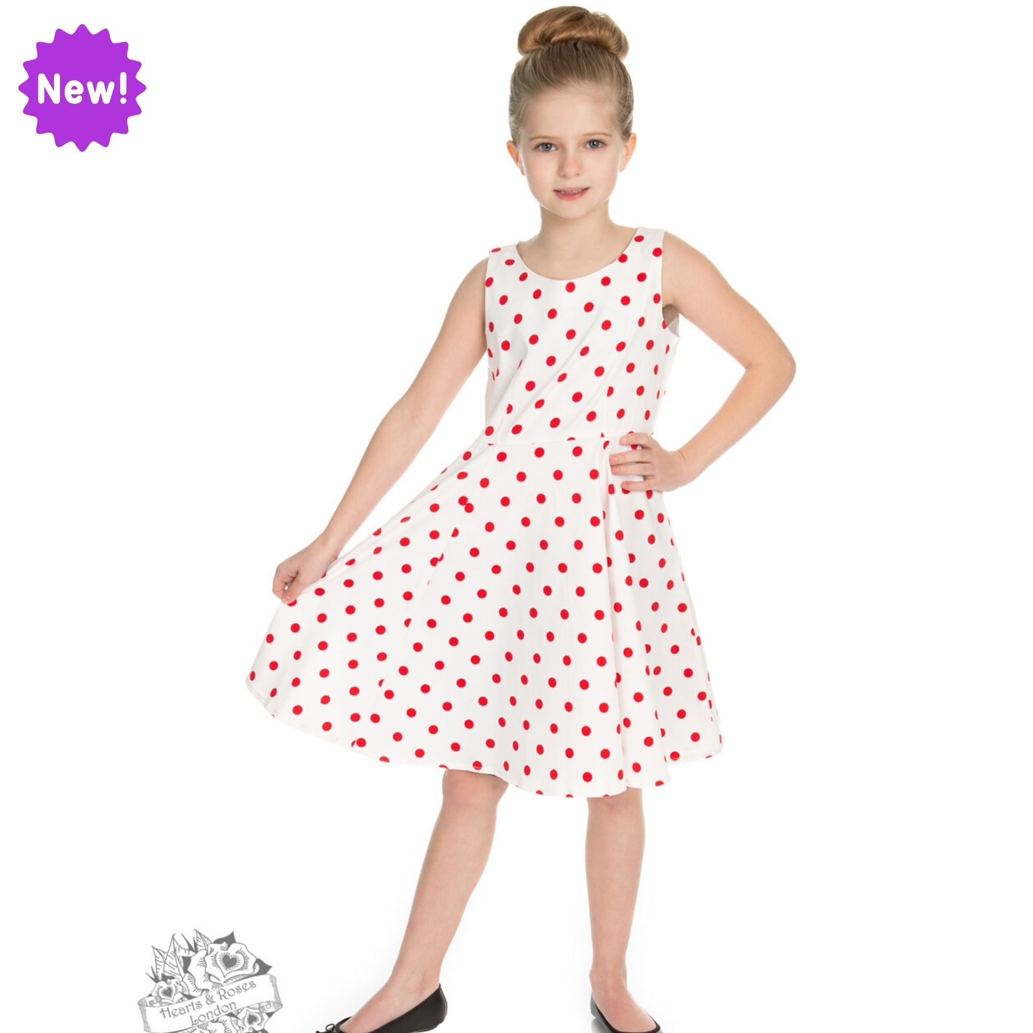 Robe swing blanche à pois rouges, style années 50, pour fillette