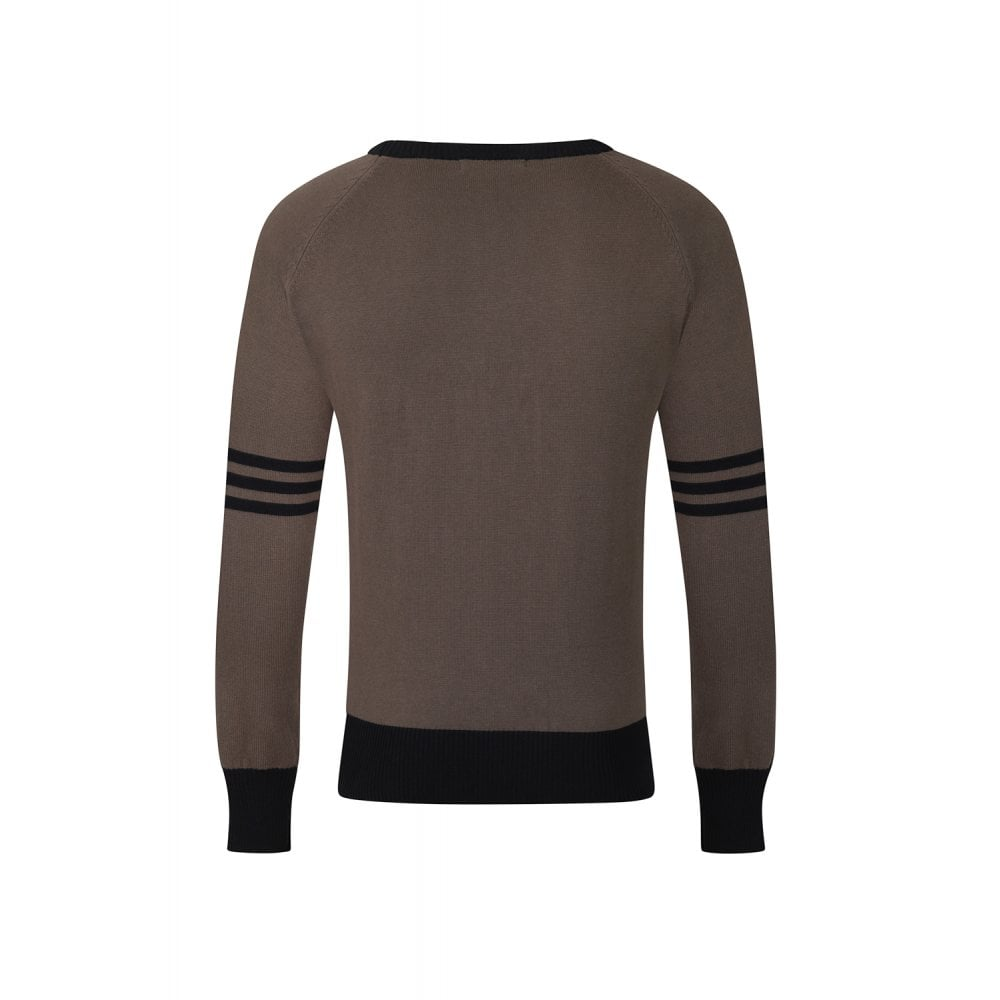 Pull en jersey taupe, style vintage pour homme