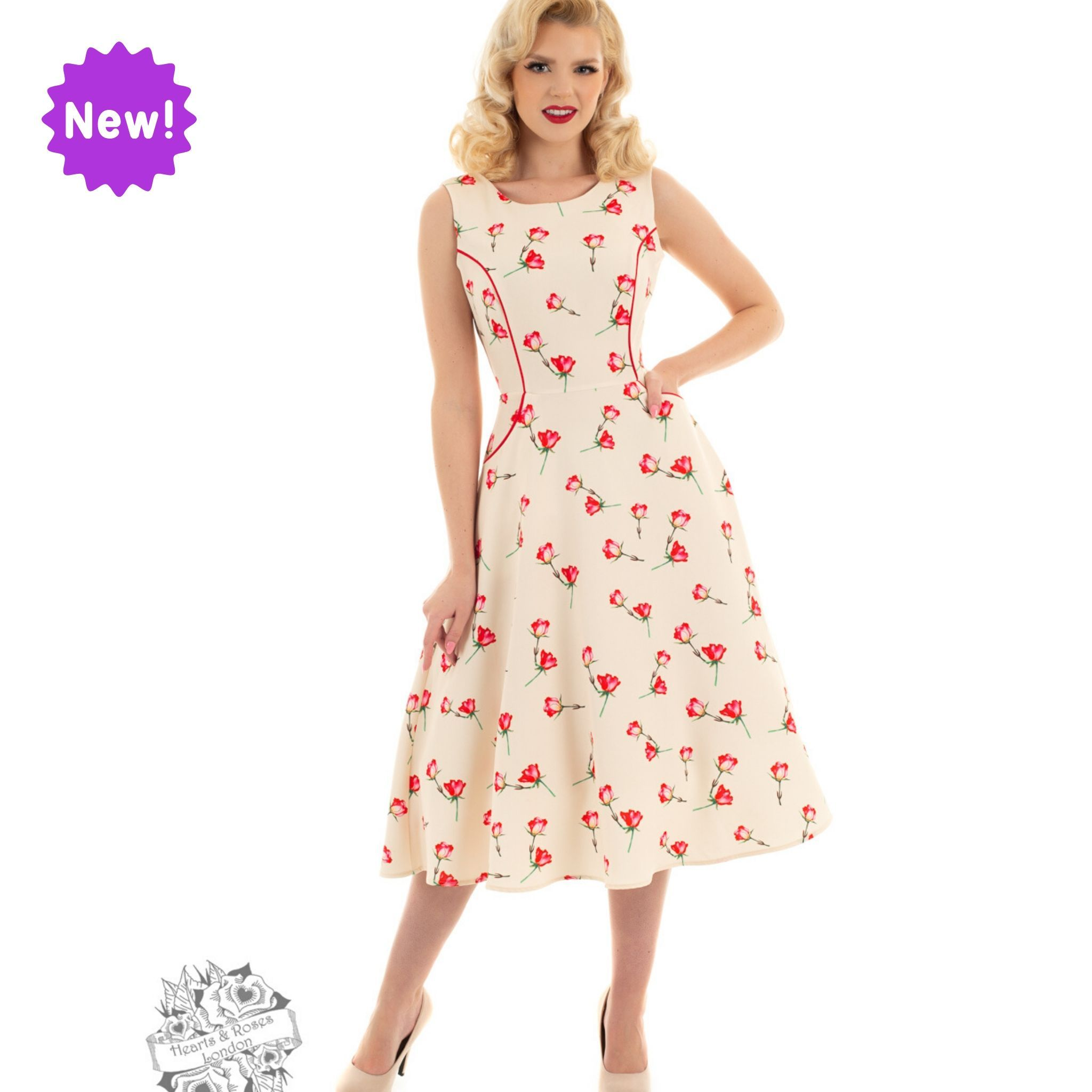 Robe swing Sorella, style vintage, beige imprimé de petites roses
