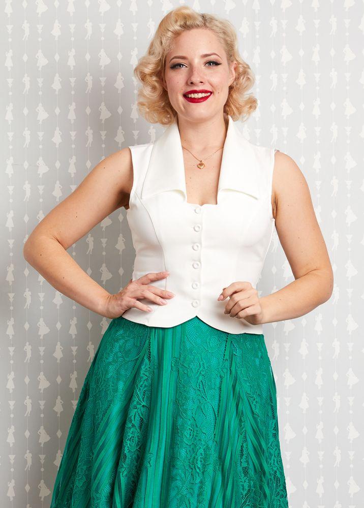 Blouse Amaia-Pearl sans manches de Miss Candyfloss