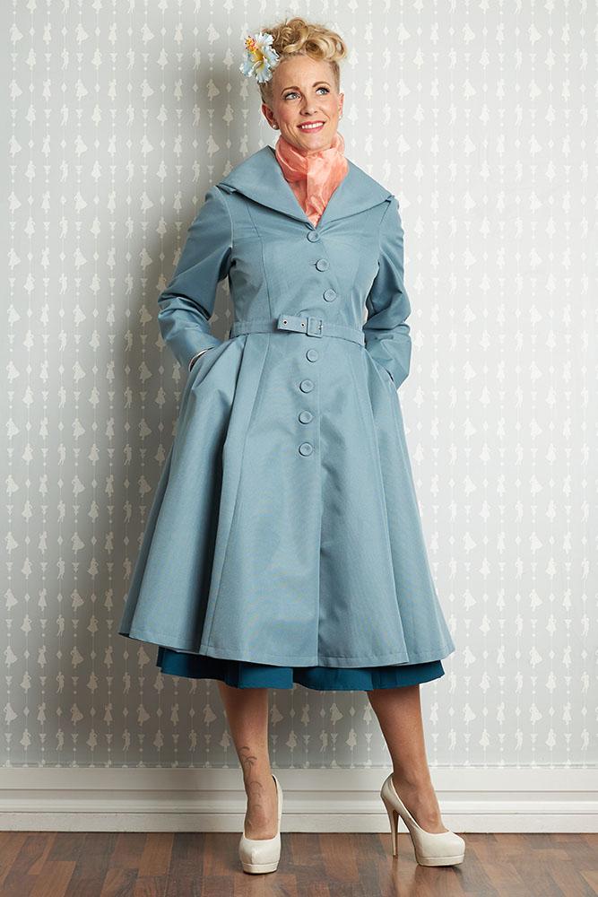 Manteau Lorin, bleu vintage poudré.