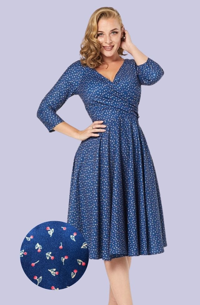 Robe style vintage, bleu nuit, motif cerises