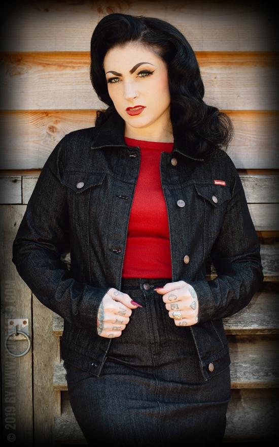 Veste noire en jean, pin up, rétro, 50's,vintage