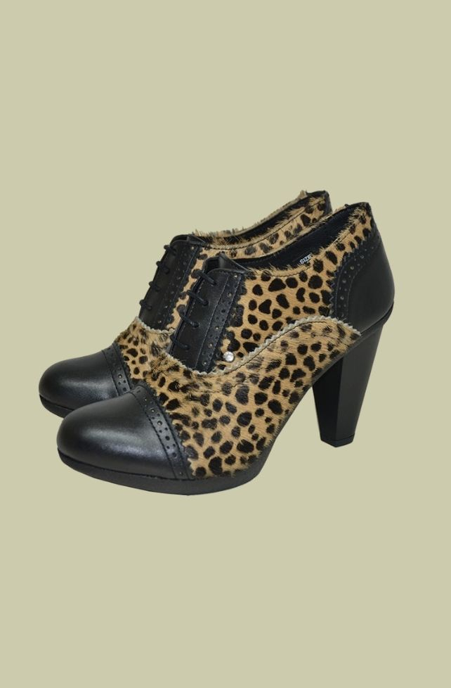 Chaussures en cuir noir-capuccino-léo