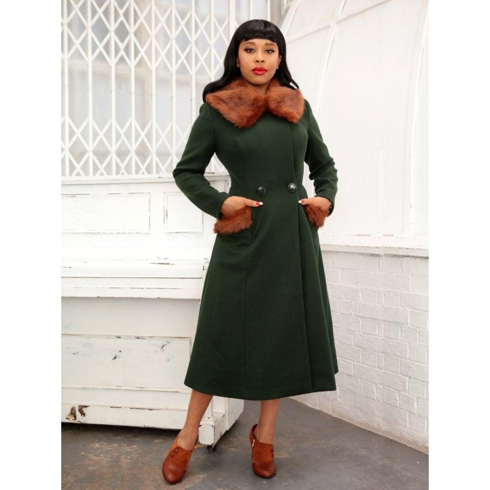 Manteau vert style vintage, rétro