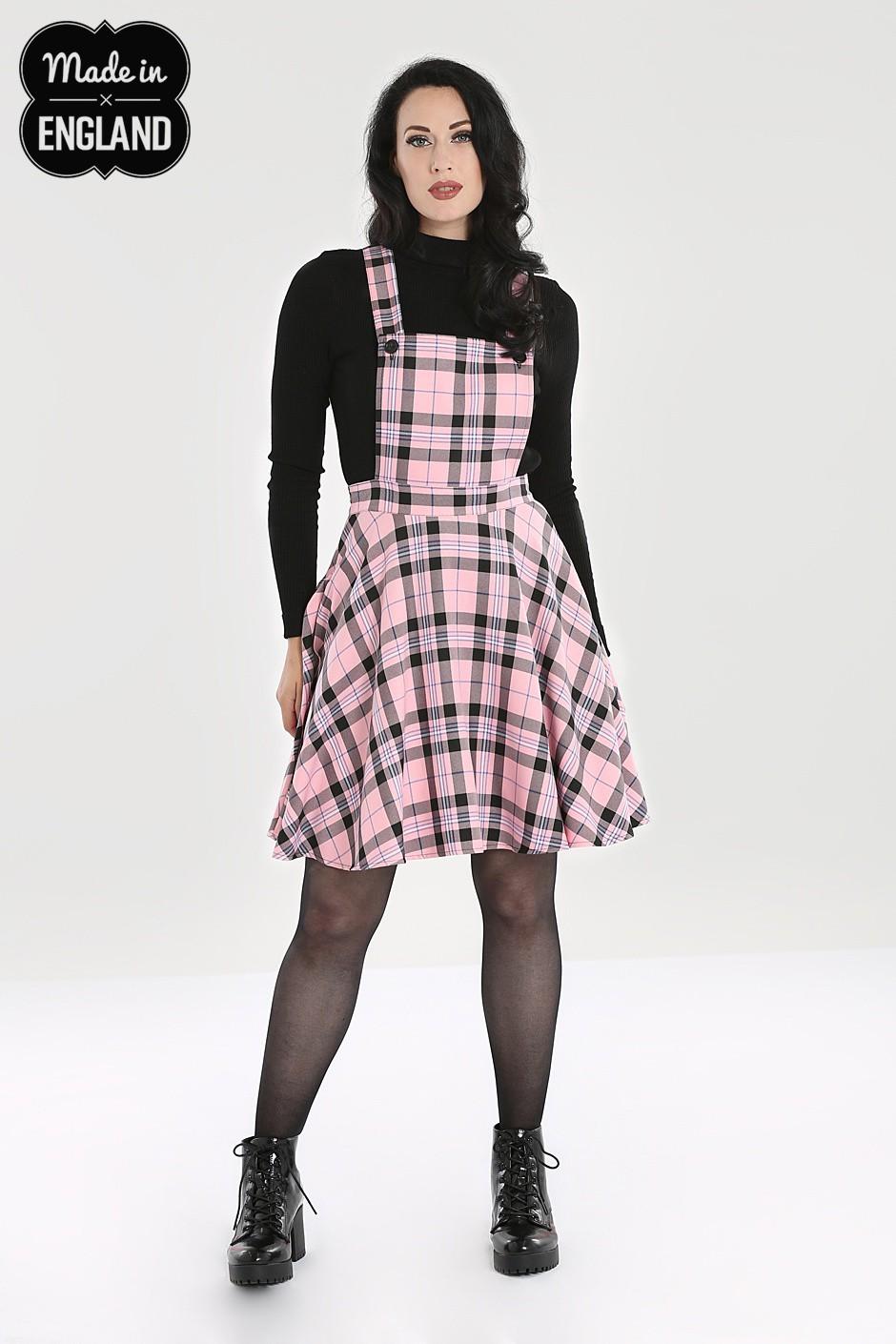 Jupe salopette tartan rose et noir, années 60
