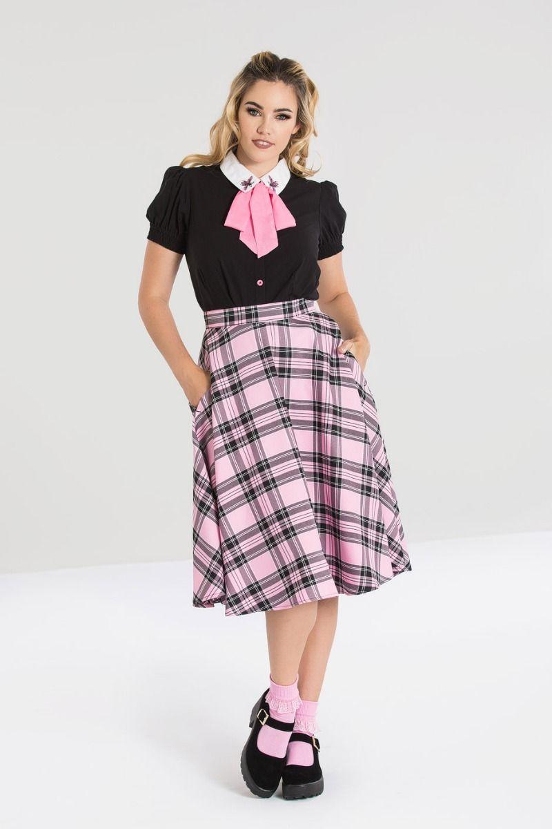 Jupe tartan style vintage, rose et noir