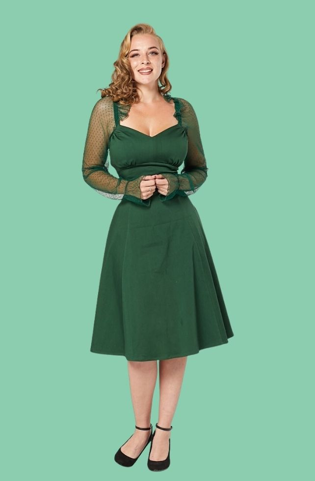 Robe verte Chelsea, manches à dentelle, style vintage