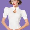 Blouse style 40's blanche