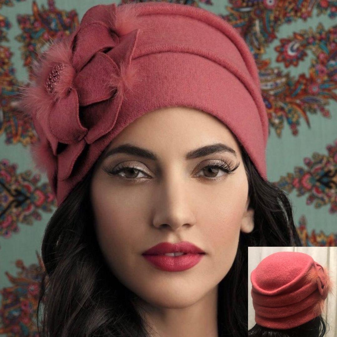 Chapeau Penelope style rétro en pure laine