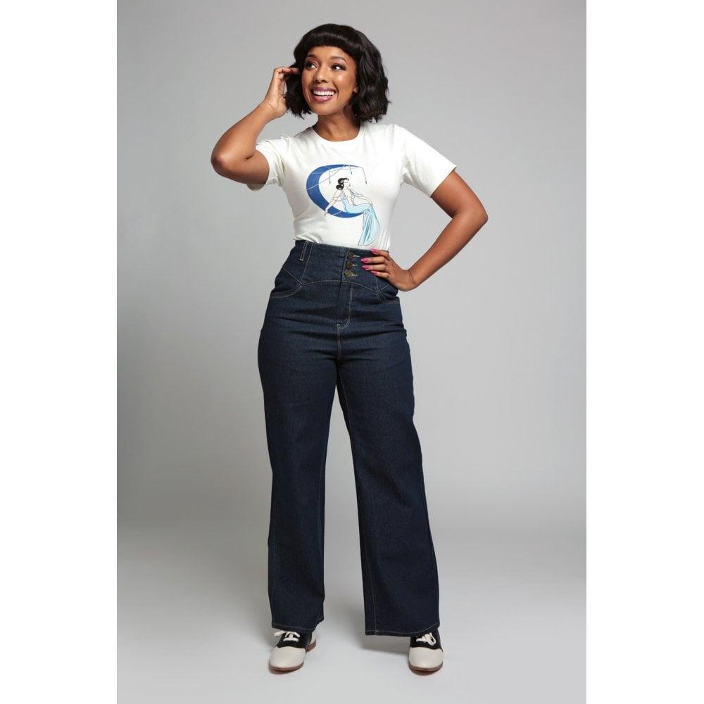 Jeans denim jambes larges, style vintage