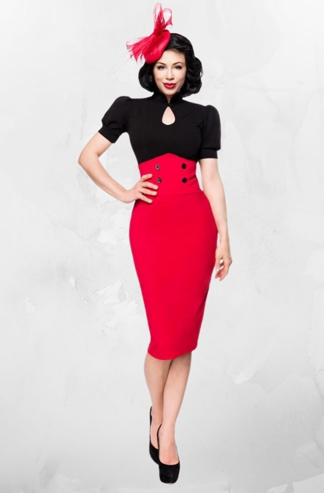Jupe crayon style 40's rouge, Belsira