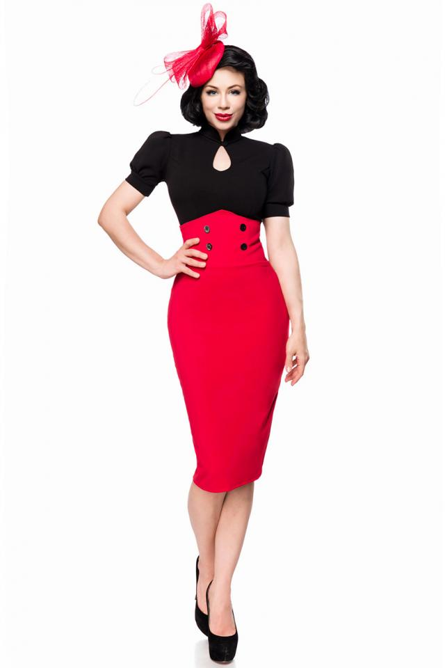 Jupe crayon style 40's, rouge