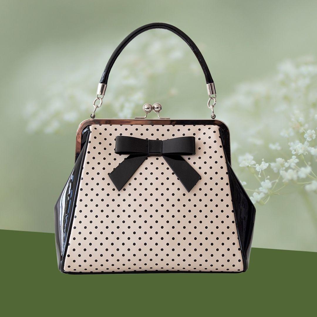sac à main noir et beige style rétro