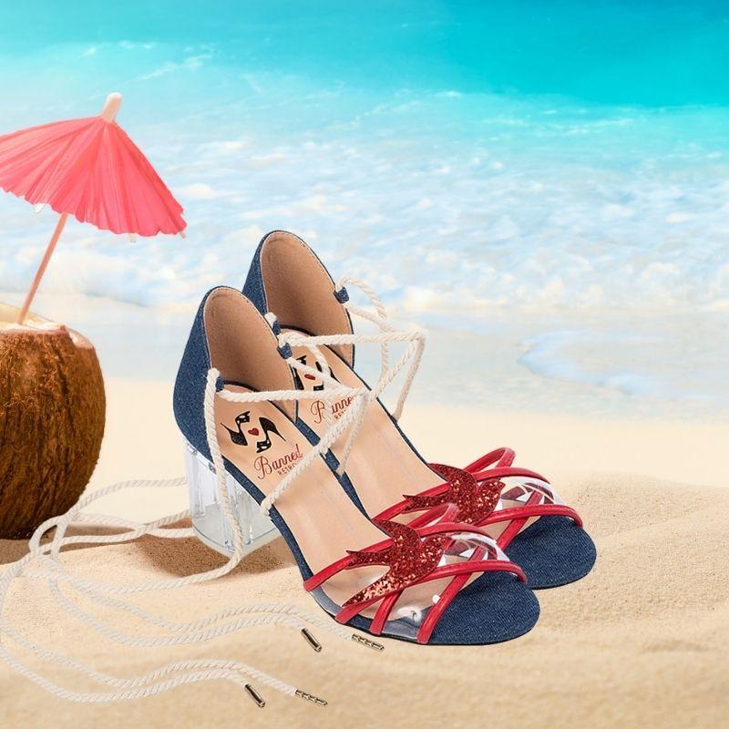 sandales à talons en verre style rétro