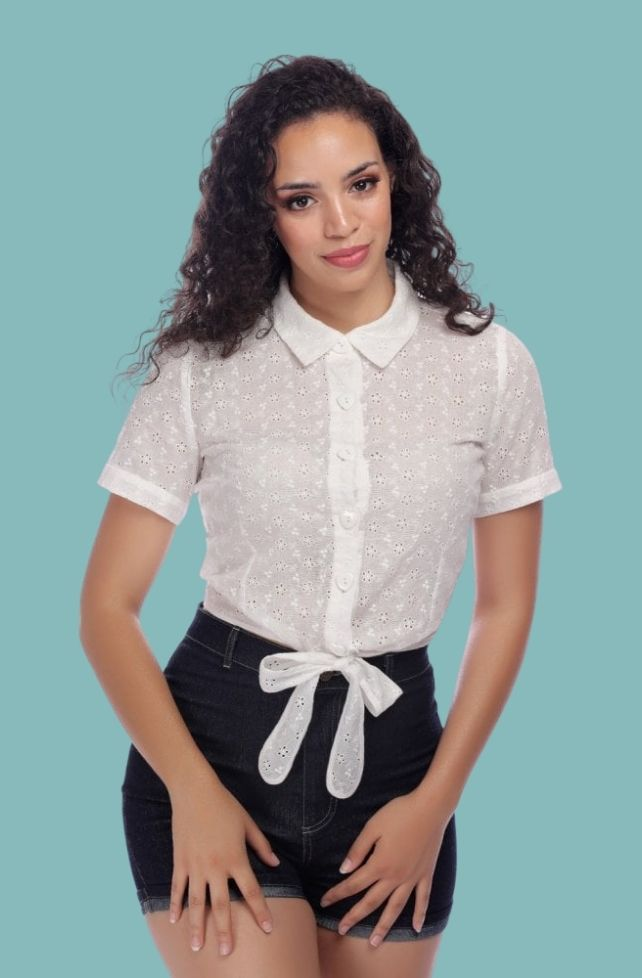 blouse blanche vintage, broderie anglaise