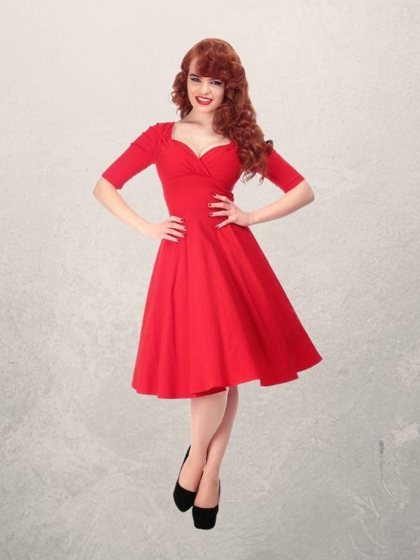 Robe rouge style vintage, 50's, rétro