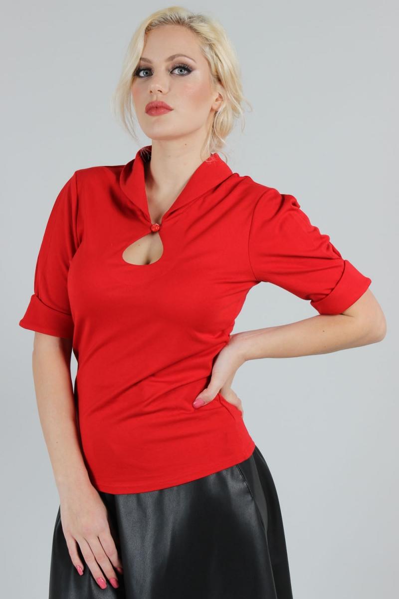 Blouse rouge style vintage