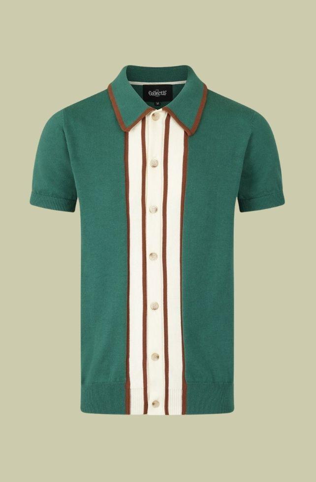 chemise en maille verte, style vintage