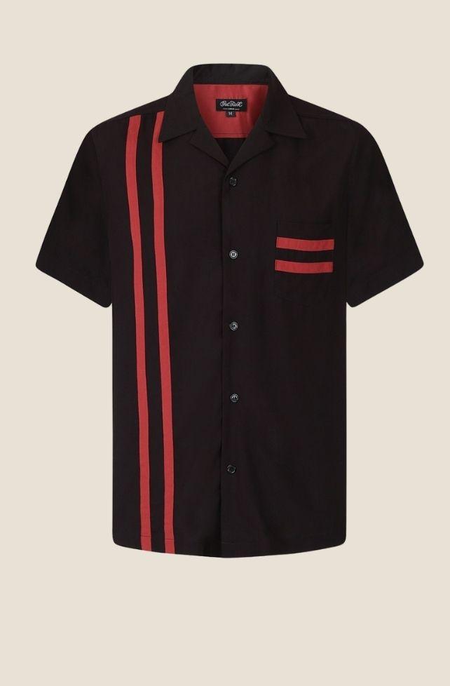 chemise de bowling noire et rouge